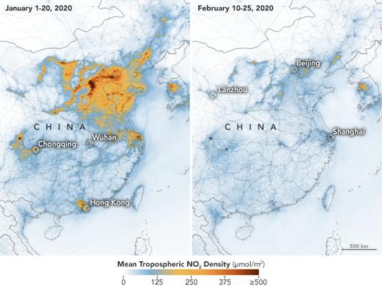 Efectele neaşteptate ale coronavirusului: imaginile NASA arată reducerea poluării în China