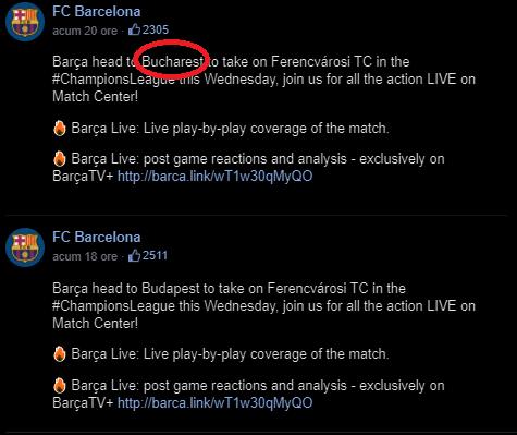 """Postarea care a stărnit amuzament pe Facebook: """"Barcelona pleacă la Bucureşti pentru meciul cu Ferencvaros din Champions League"""""""