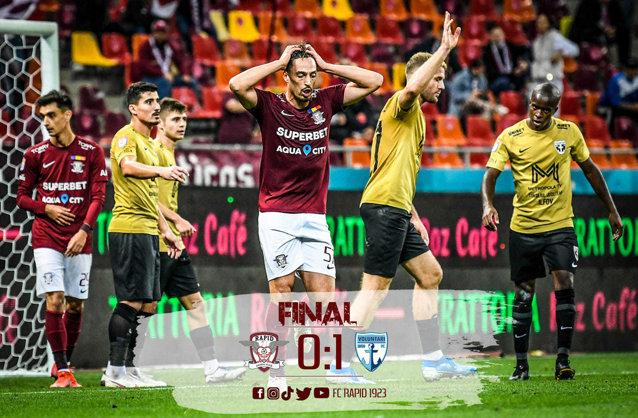 Liga 1 la fotbal. Rapid şi-a pierdut strălucirea din startul sezonului: 0-1 cu FC Voluntari